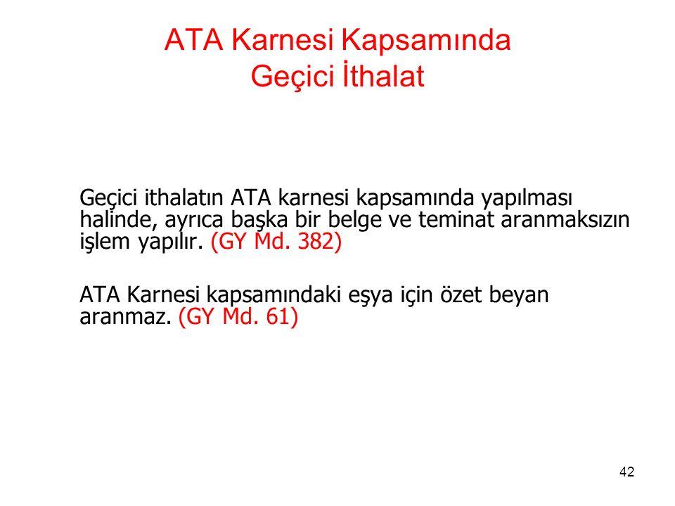 ATA Karnesi Kapsamında Geçici İthalat