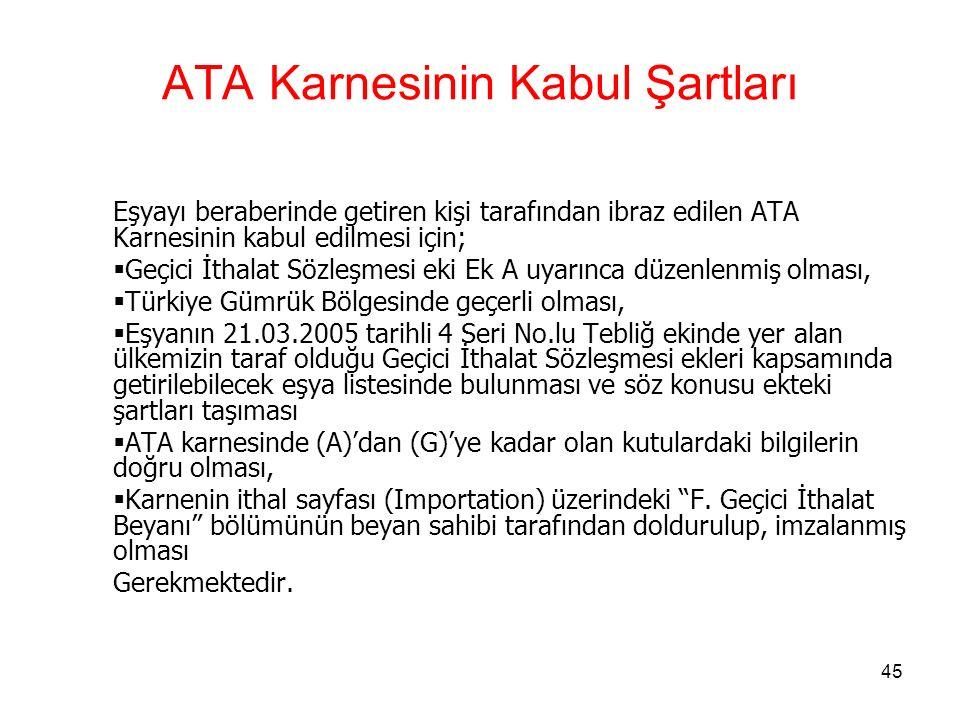 ATA Karnesinin Kabul Şartları