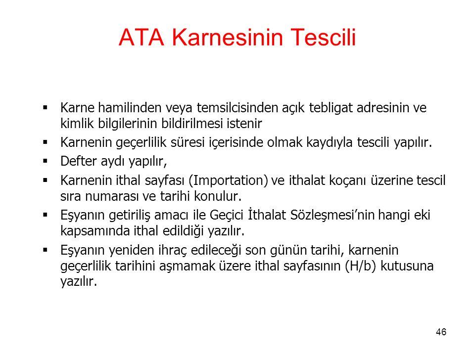 ATA Karnesinin Tescili