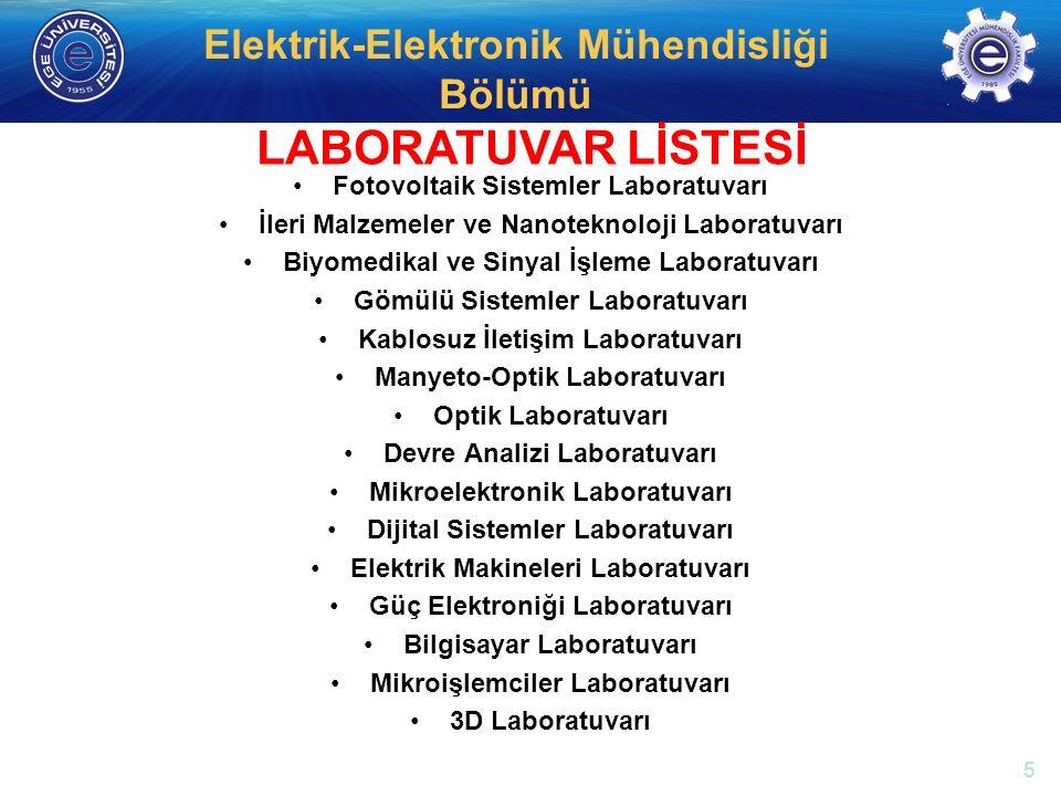 LABORATUVAR LİSTESİ Fotovoltaik Sistemler Laboratuvarı