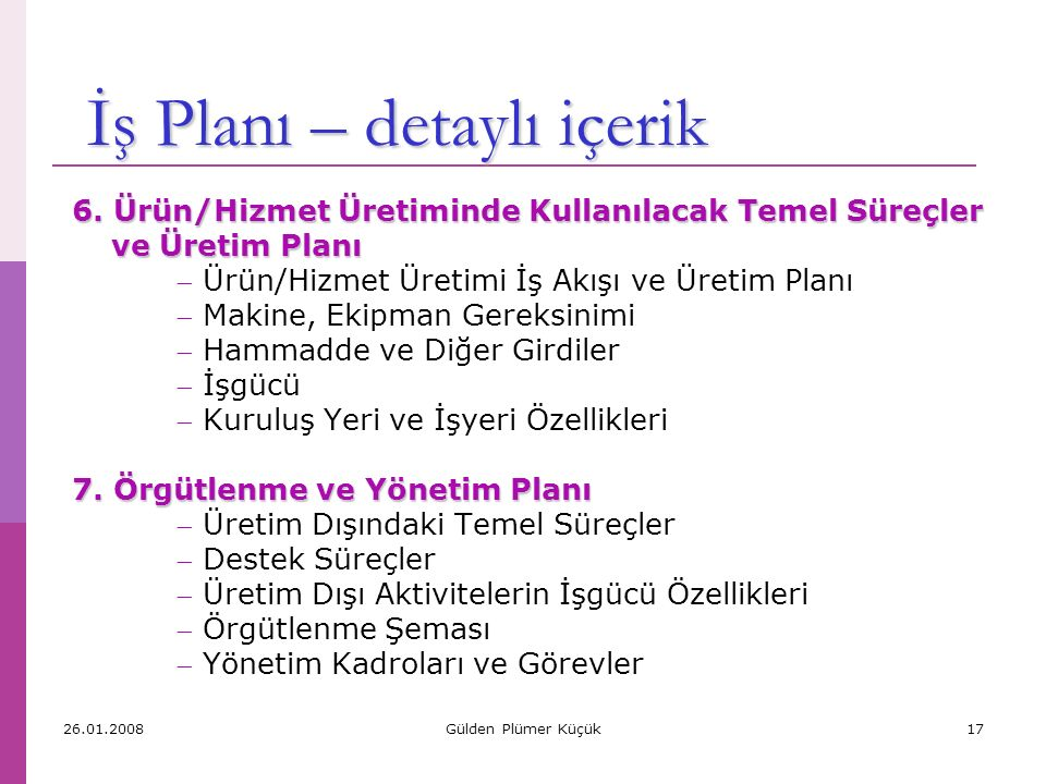 İş Planı – detaylı içerik