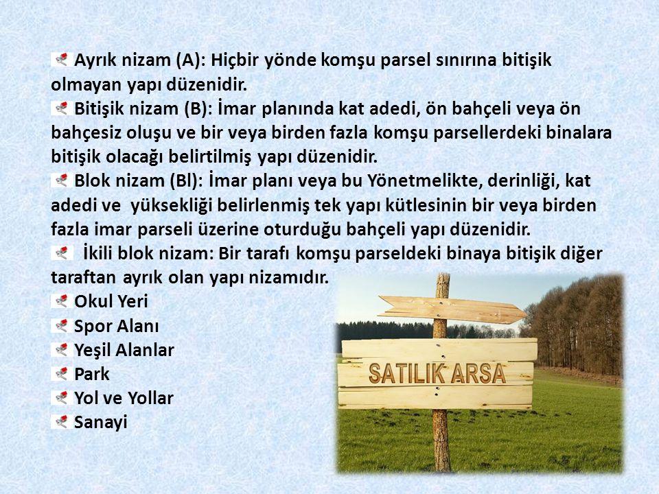 Ayrık nizam (A): Hiçbir yönde komşu parsel sınırına bitişik olmayan yapı düzenidir.