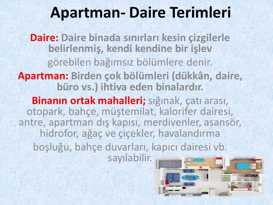 Apartman- Daire Terimleri