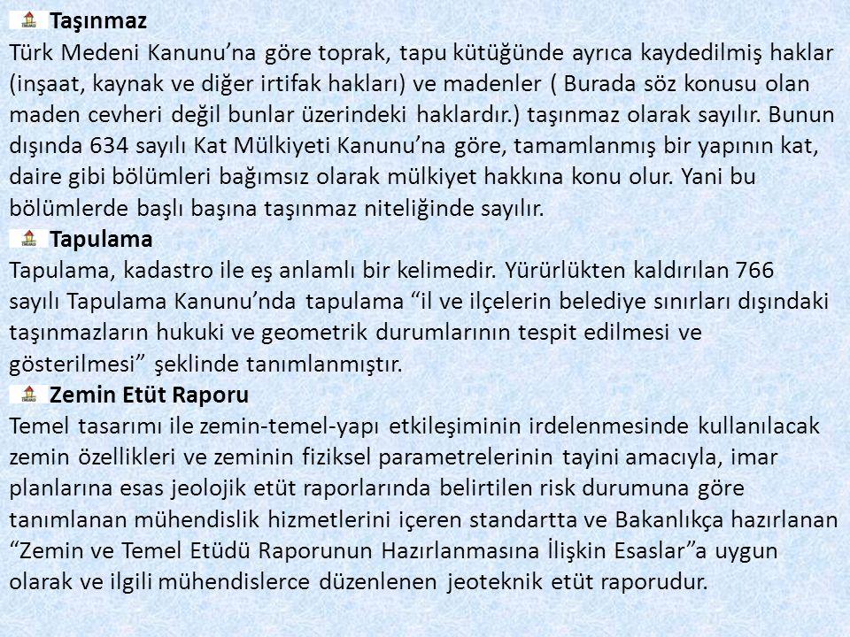 Taşınmaz Türk Medeni Kanunu'na göre toprak, tapu kütüğünde ayrıca kaydedilmiş haklar.