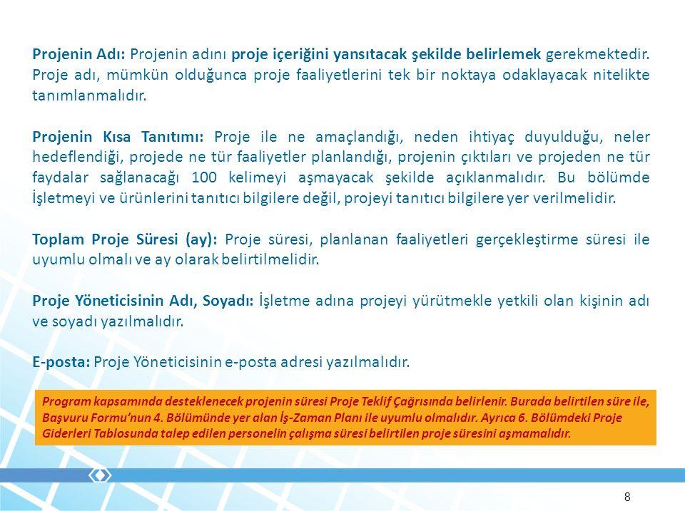 E-posta: Proje Yöneticisinin e-posta adresi yazılmalıdır.