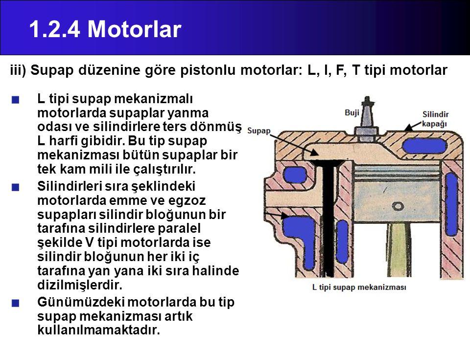 1.2.4 Motorlar iii) Supap düzenine göre pistonlu motorlar: L, I, F, T tipi motorlar.