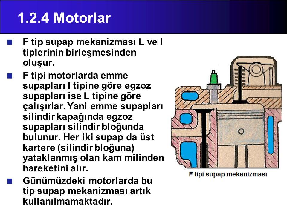 1.2.4 Motorlar F tip supap mekanizması L ve I tiplerinin birleşmesinden oluşur.