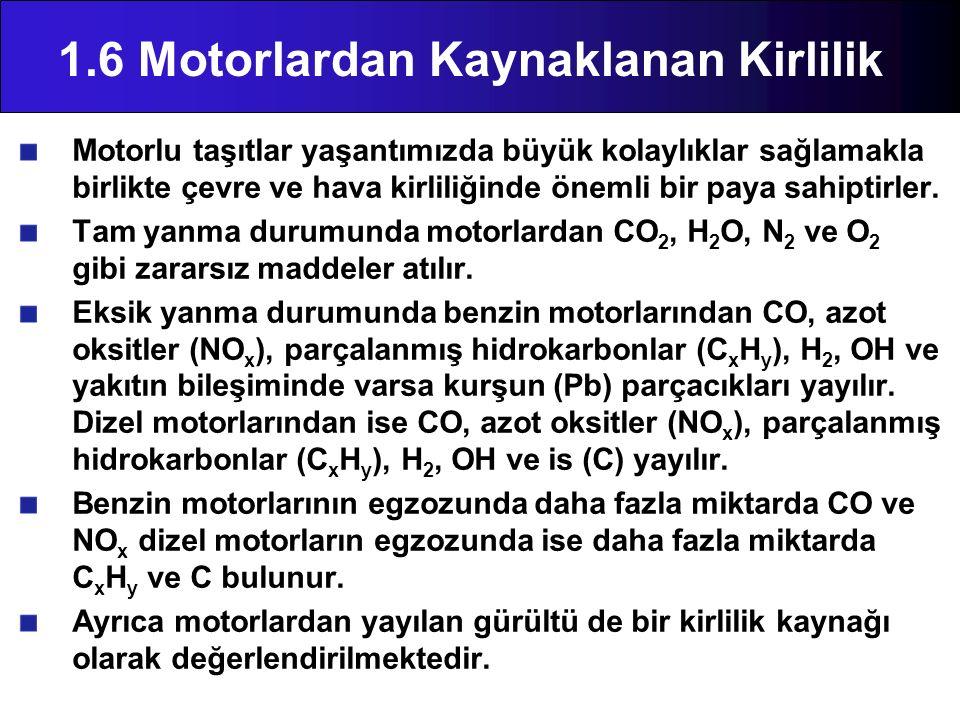 1.6 Motorlardan Kaynaklanan Kirlilik