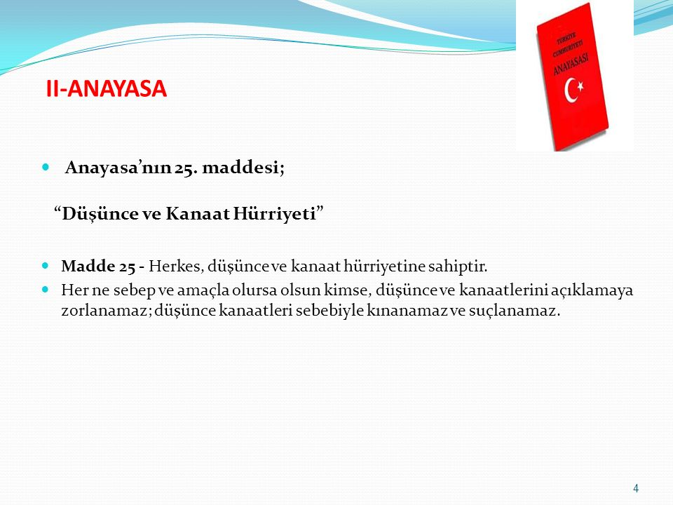 II-ANAYASA Anayasa'nın 25. maddesi; Düşünce ve Kanaat Hürriyeti