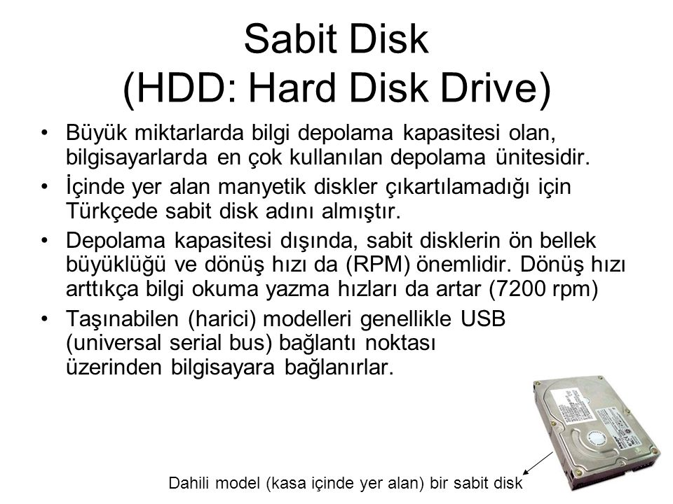Sabit Disk (HDD: Hard Disk Drive)