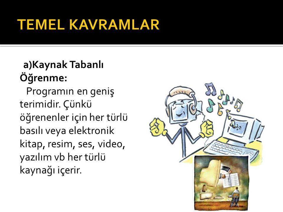 TEMEL KAVRAMLAR a)Kaynak Tabanlı Öğrenme: