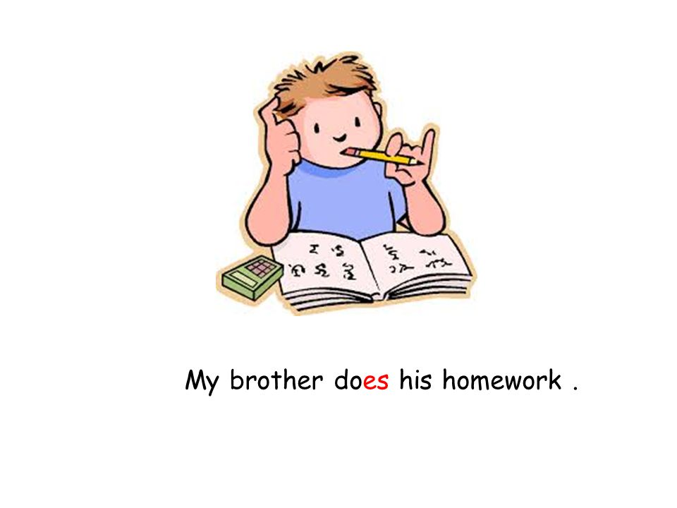 My brother does his homework .