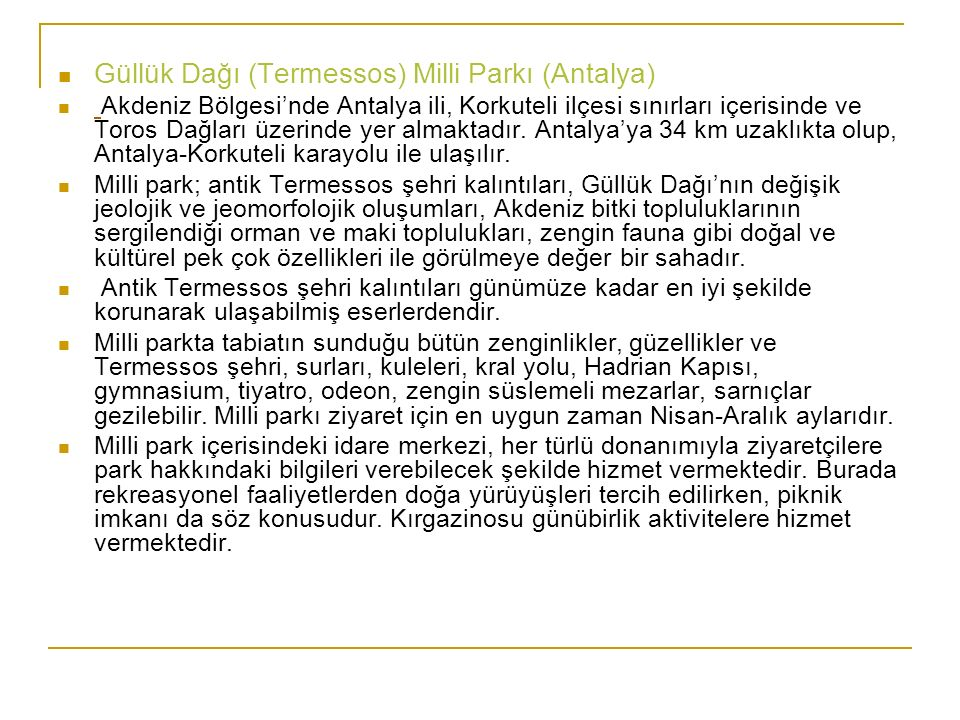 Güllük Dağı (Termessos) Milli Parkı (Antalya)