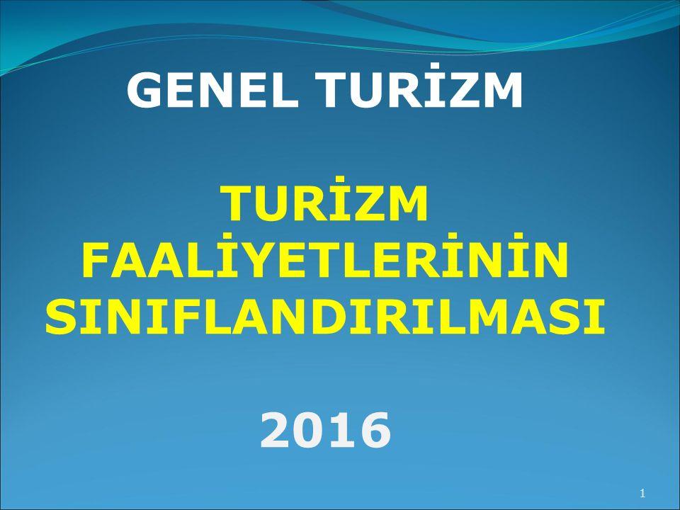 GENEL TURİZM TURİZM FAALİYETLERİNİN SINIFLANDIRILMASI 2016