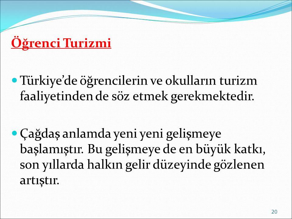 Öğrenci Turizmi Türkiye'de öğrencilerin ve okulların turizm faaliyetinden de söz etmek gerekmektedir.
