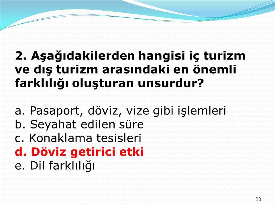 2. Aşağıdakilerden hangisi iç turizm ve dış turizm arasındaki en önemli farklılığı oluşturan unsurdur
