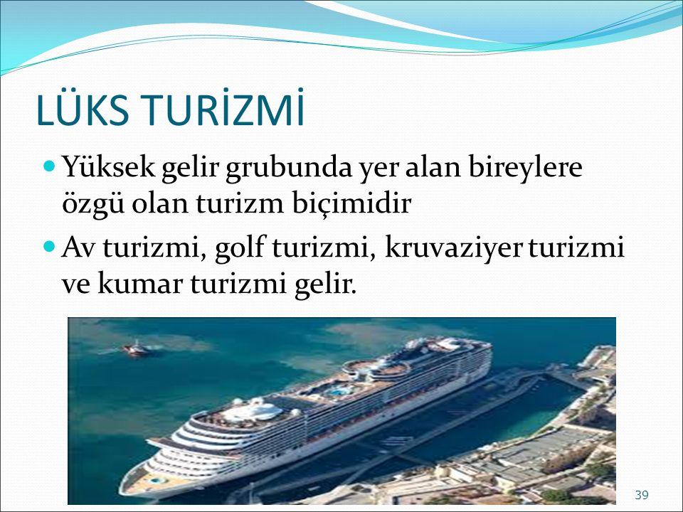 LÜKS TURİZMİ Yüksek gelir grubunda yer alan bireylere özgü olan turizm biçimidir.