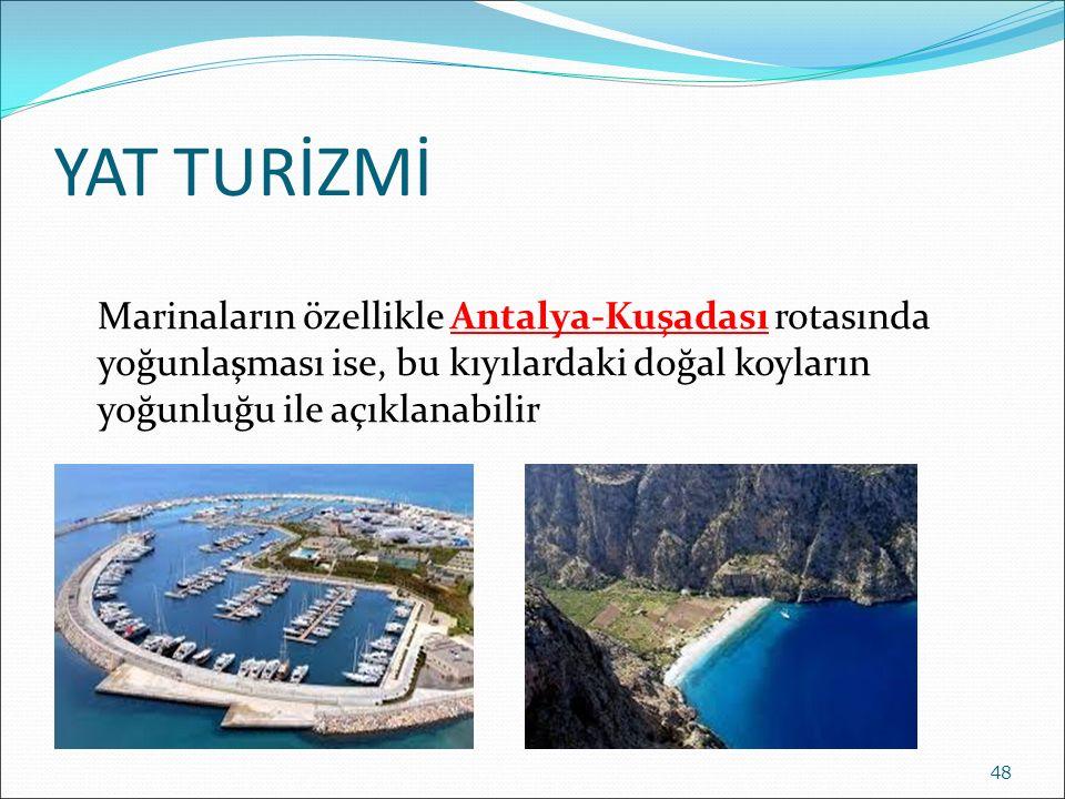 YAT TURİZMİ Marinaların özellikle Antalya-Kuşadası rotasında yoğunlaşması ise, bu kıyılardaki doğal koyların yoğunluğu ile açıklanabilir.