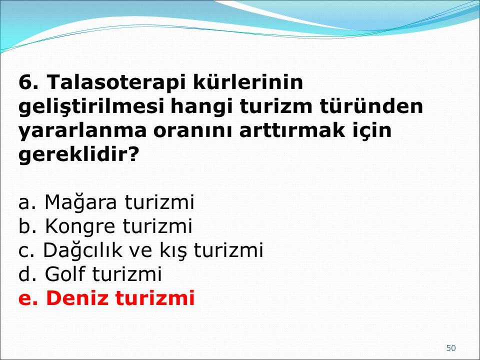 6. Talasoterapi kürlerinin geliştirilmesi hangi turizm türünden yararlanma oranını arttırmak için