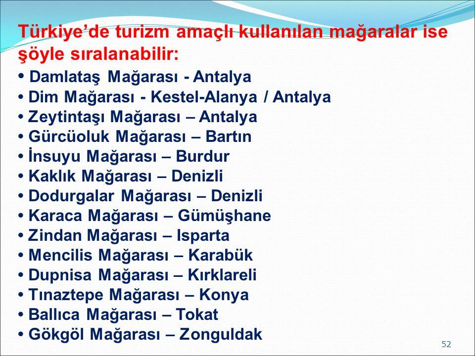 Türkiye'de turizm amaçlı kullanılan mağaralar ise şöyle sıralanabilir: