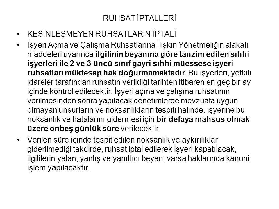 RUHSAT İPTALLERİ KESİNLEŞMEYEN RUHSATLARIN İPTALİ.