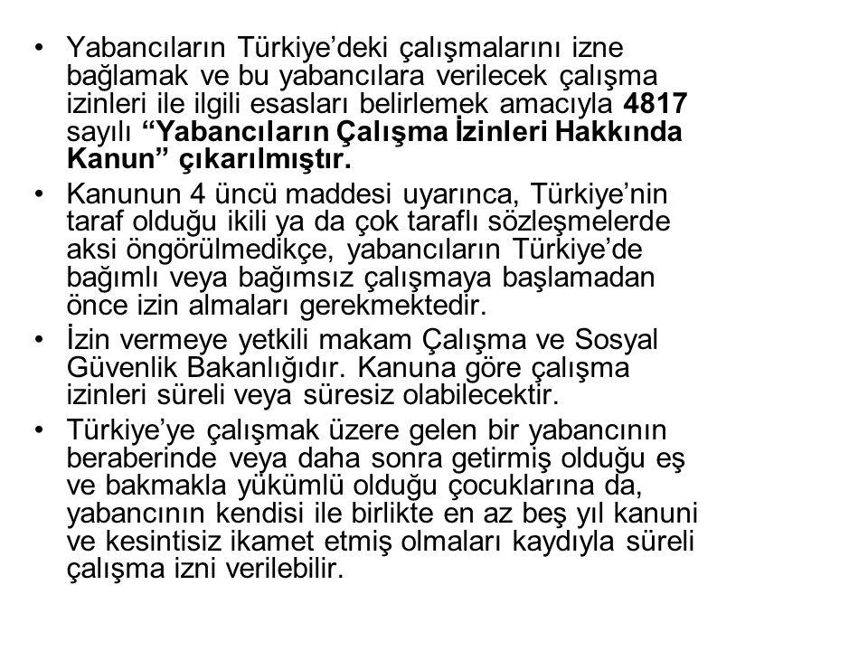 Yabancıların Türkiye'deki çalışmalarını izne bağlamak ve bu yabancılara verilecek çalışma izinleri ile ilgili esasları belirlemek amacıyla 4817 sayılı Yabancıların Çalışma İzinleri Hakkında Kanun çıkarılmıştır.