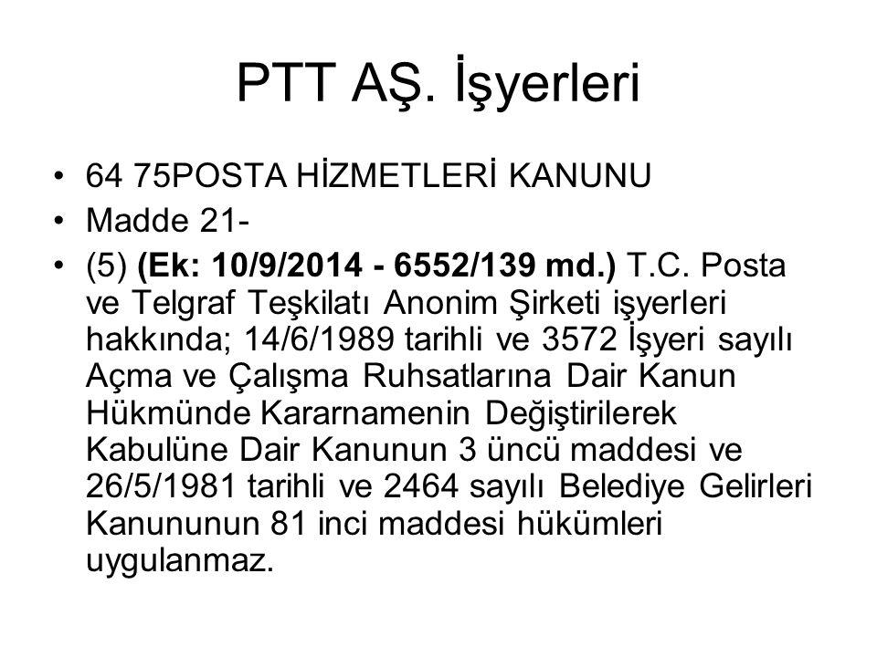 PTT AŞ. İşyerleri 64 75POSTA HİZMETLERİ KANUNU Madde 21-