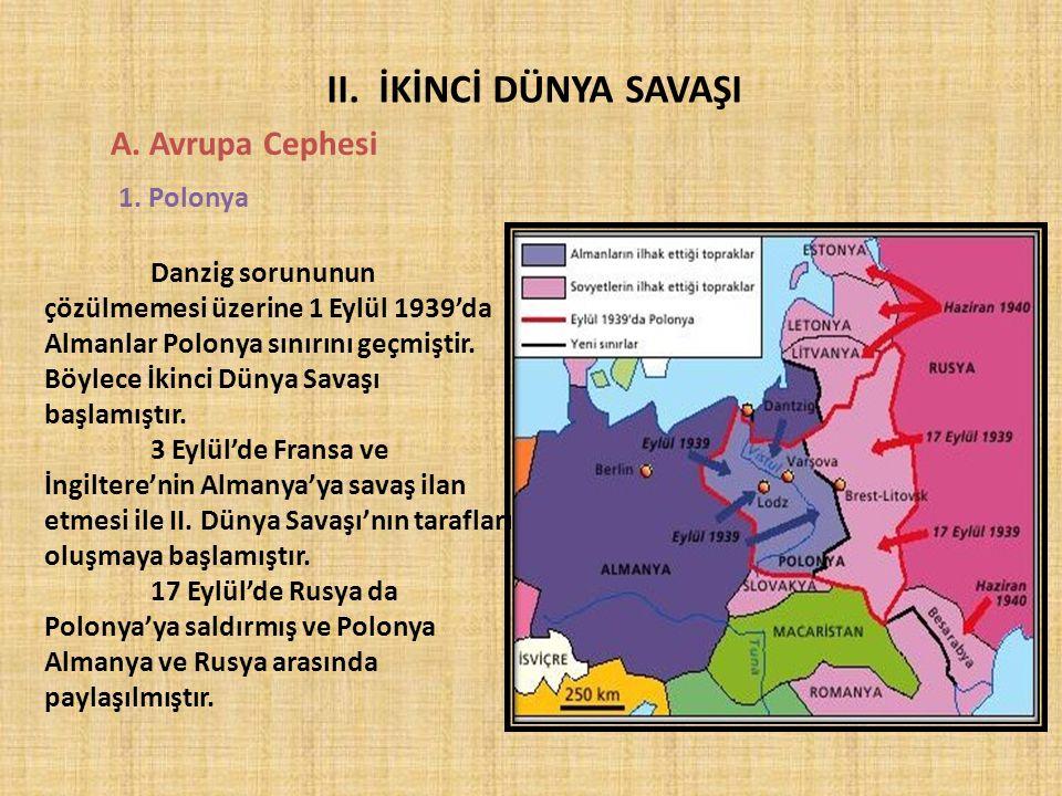 II. İKİNCİ DÜNYA SAVAŞI A. Avrupa Cephesi 1. Polonya