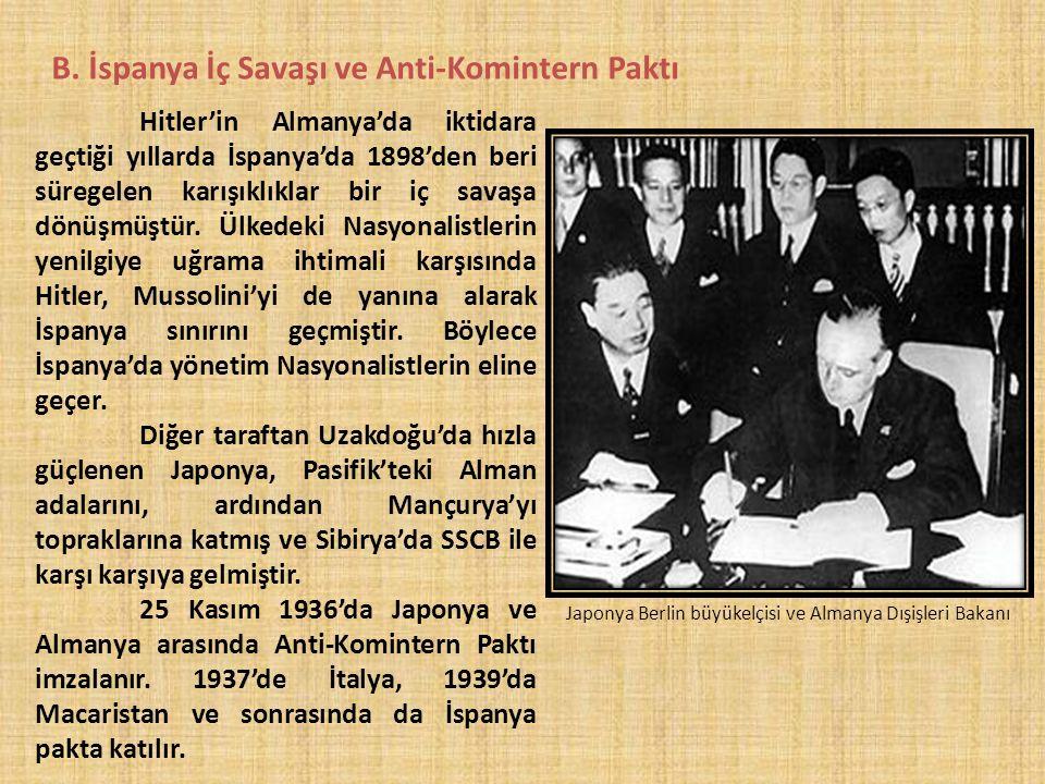 B. İspanya İç Savaşı ve Anti-Komintern Paktı