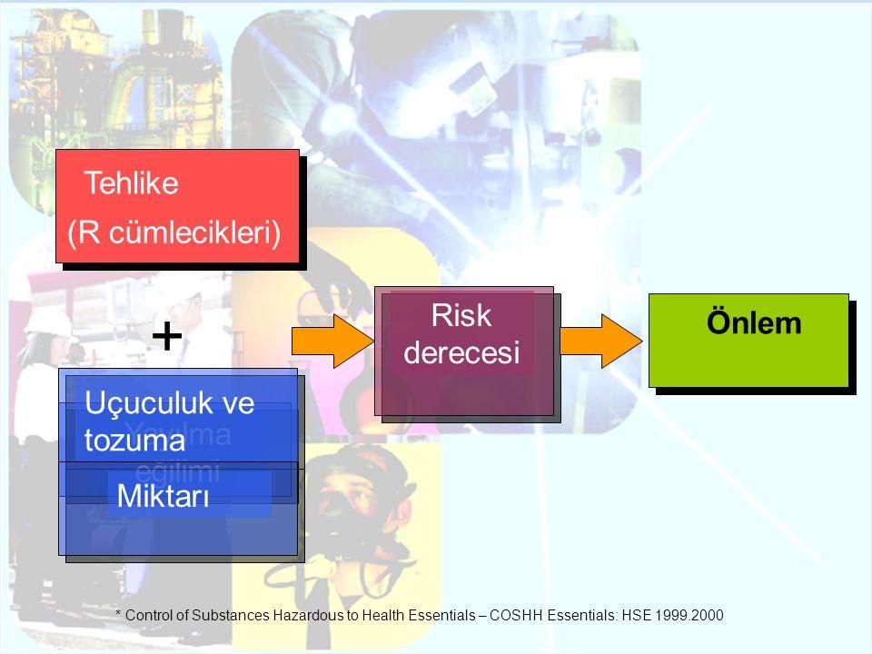 + Tehlike (R cümlecikleri) Risk derecesi Önlem Uçuculuk ve tozuma