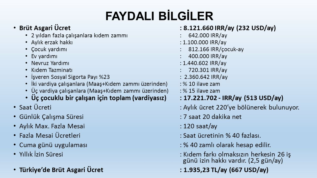FAYDALI BİLGİLER Brüt Asgari Ücret : 8.121.660 IRR/ay (232 USD/ay)