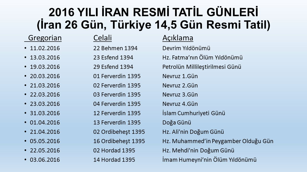2016 YILI İRAN RESMİ TATİL GÜNLERİ (İran 26 Gün, Türkiye 14,5 Gün Resmi Tatil)