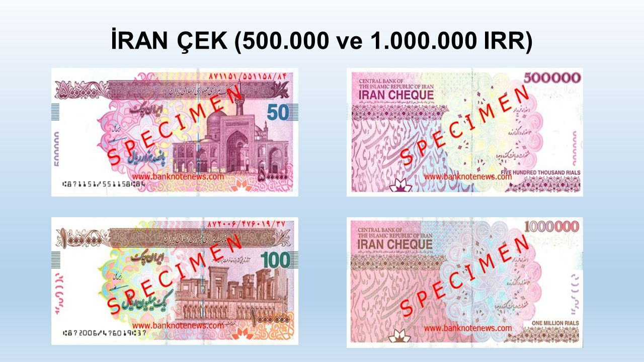 İRAN ÇEK (500.000 ve 1.000.000 IRR)
