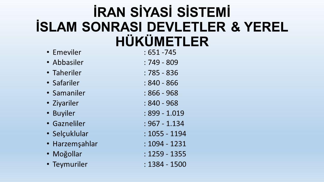 İRAN SİYASİ SİSTEMİ İSLAM SONRASI DEVLETLER & YEREL HÜKÜMETLER
