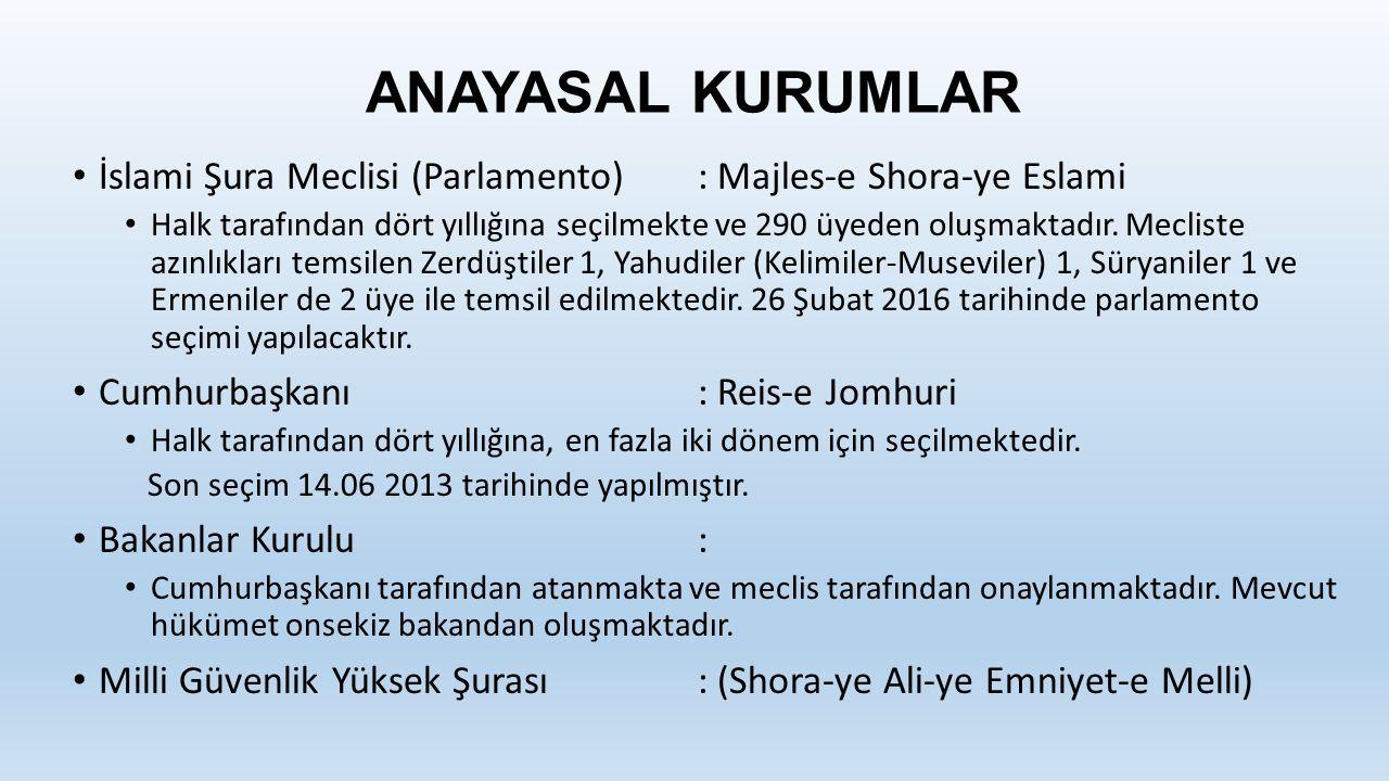 ANAYASAL KURUMLAR İslami Şura Meclisi (Parlamento) : Majles-e Shora-ye Eslami.