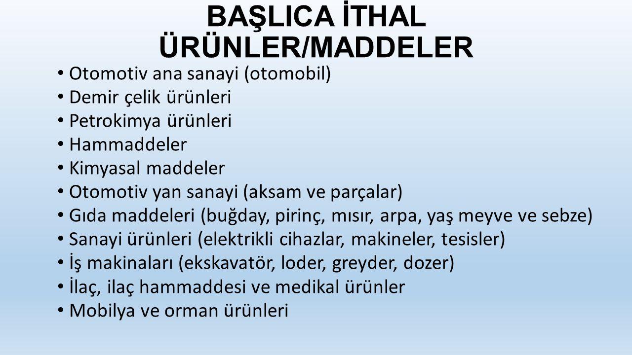 BAŞLICA İTHAL ÜRÜNLER/MADDELER