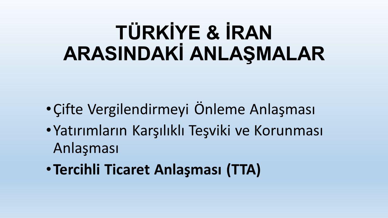 TÜRKİYE & İRAN ARASINDAKİ ANLAŞMALAR