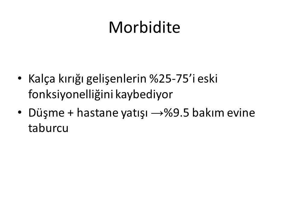 Morbidite Kalça kırığı gelişenlerin %25-75'i eski fonksiyonelliğini kaybediyor.
