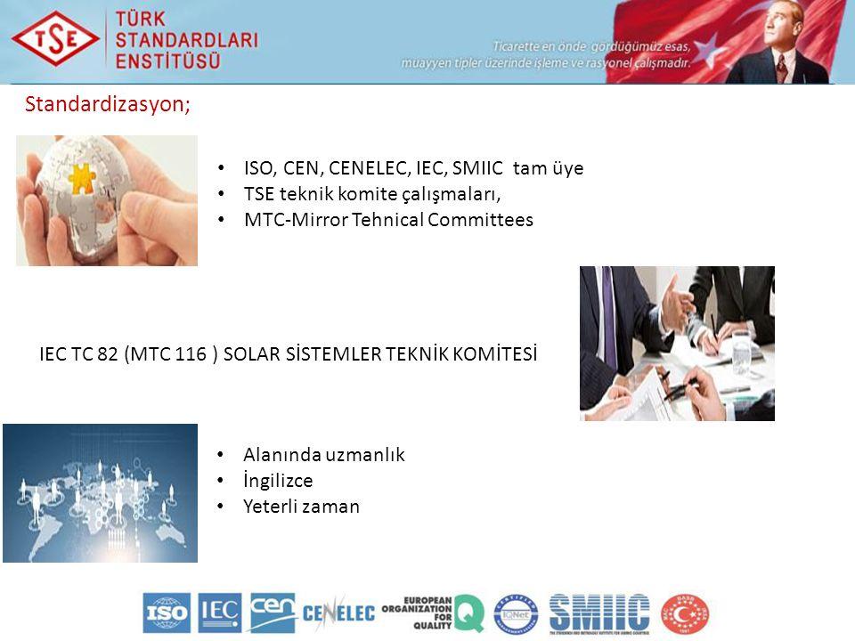 Standardizasyon; ISO, CEN, CENELEC, IEC, SMIIC tam üye