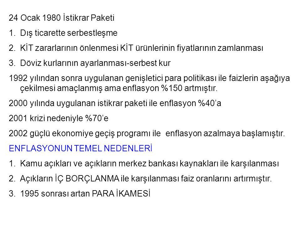 24 Ocak 1980 İstikrar Paketi Dış ticarette serbestleşme. KİT zararlarının önlenmesi KİT ürünlerinin fiyatlarının zamlanması.