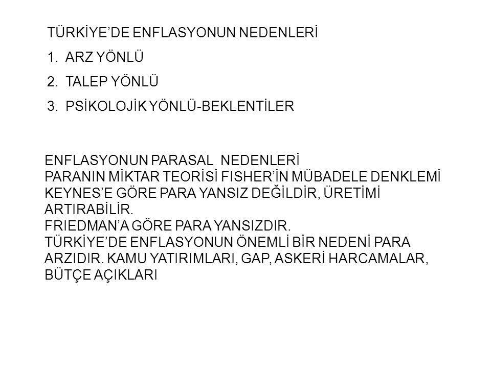 TÜRKİYE'DE ENFLASYONUN NEDENLERİ