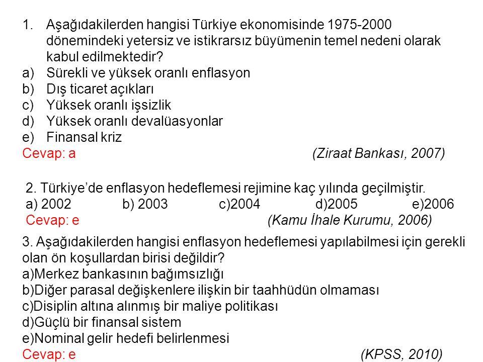 Aşağıdakilerden hangisi Türkiye ekonomisinde 1975-2000 dönemindeki yetersiz ve istikrarsız büyümenin temel nedeni olarak kabul edilmektedir