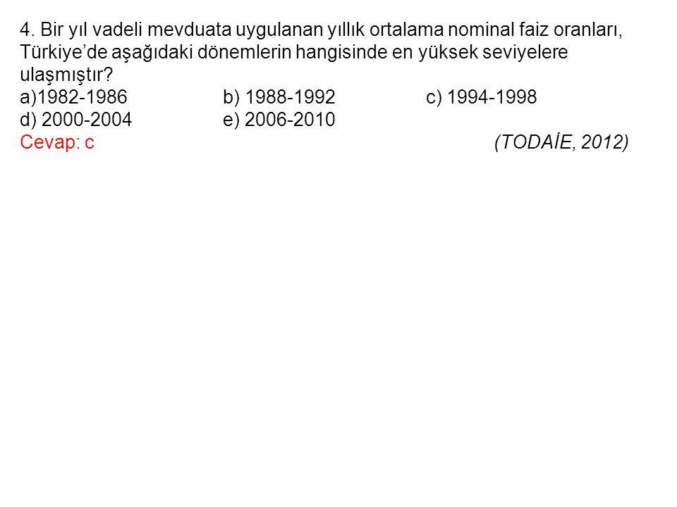 4. Bir yıl vadeli mevduata uygulanan yıllık ortalama nominal faiz oranları, Türkiye'de aşağıdaki dönemlerin hangisinde en yüksek seviyelere ulaşmıştır
