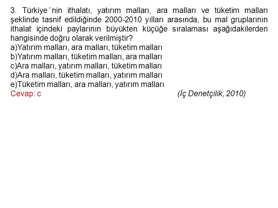 3. Türkiye'nin ithalatı, yatırım malları, ara malları ve tüketim malları şeklinde tasnif edildiğinde 2000-2010 yılları arasında, bu mal gruplarının ithalat içindeki paylarının büyükten küçüğe sıralaması aşağıdakilerden hangisinde doğru olarak verilmiştir