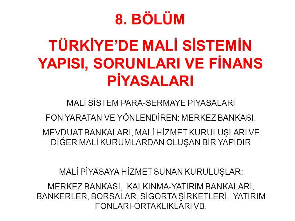 TÜRKİYE'DE MALİ SİSTEMİN YAPISI, SORUNLARI VE FİNANS PİYASALARI