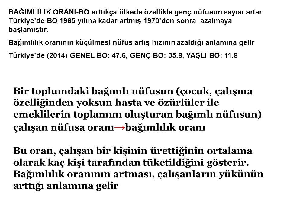 BAĞIMLILIK ORANI-BO arttıkça ülkede özellikle genç nüfusun sayısı artar. Türkiye'de BO 1965 yılına kadar artmış 1970'den sonra azalmaya başlamıştır.