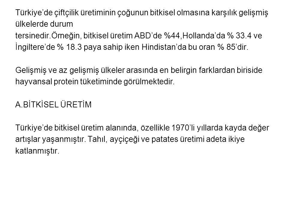 Türkiye'de çiftçilik üretiminin çoğunun bitkisel olmasına karşılık gelişmiş