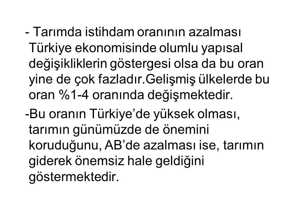 - Tarımda istihdam oranının azalması Türkiye ekonomisinde olumlu yapısal değişikliklerin göstergesi olsa da bu oran yine de çok fazladır.Gelişmiş ülkelerde bu oran %1-4 oranında değişmektedir.