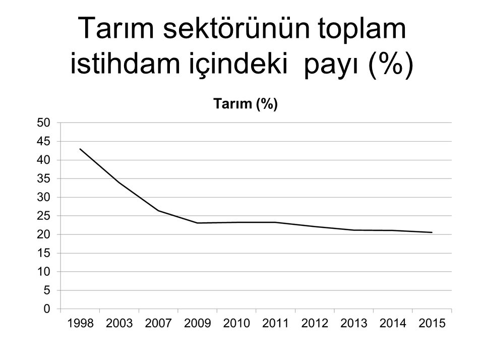 Tarım sektörünün toplam istihdam içindeki payı (%)