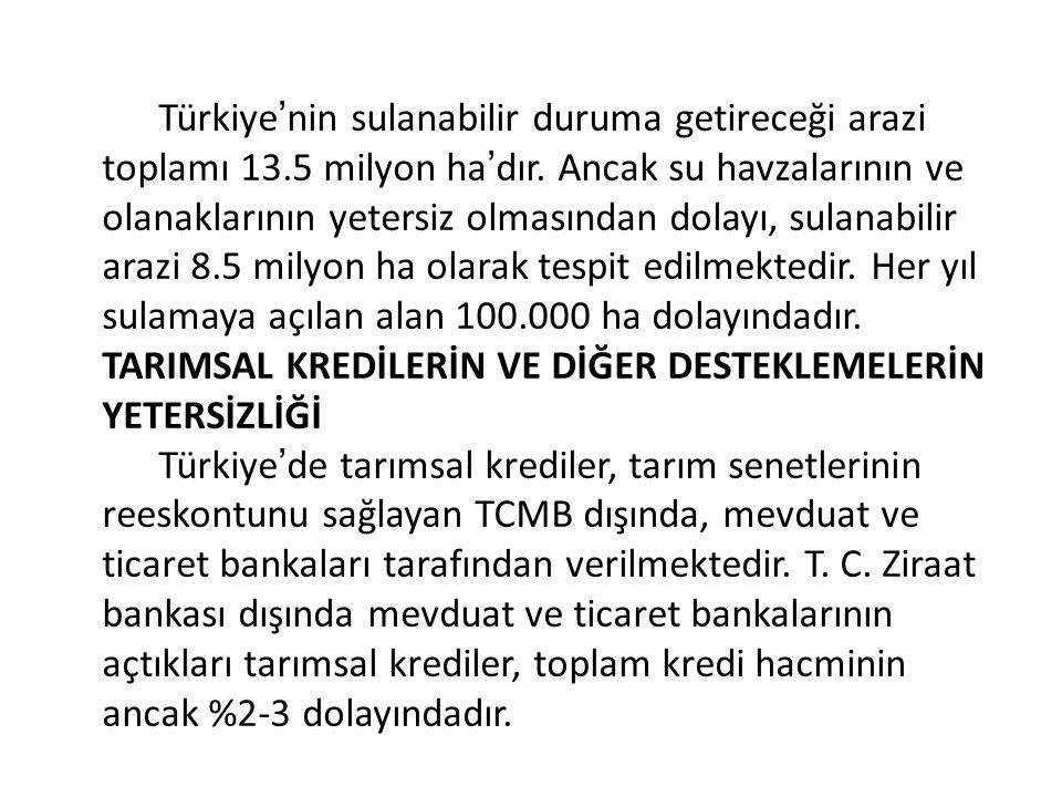 Türkiye'nin sulanabilir duruma getireceği arazi toplamı 13
